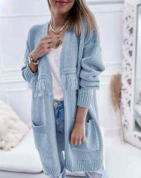 Ефектна дълга плетена дамска жилетка в синьо - код 4873