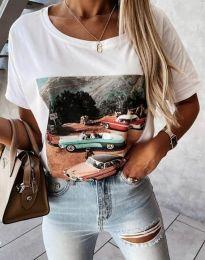 Тениска в бяло с принт - код 2460 - лице