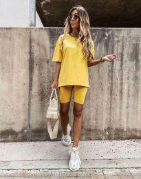 Дамски спортен сет тениска и клин в жълто - код 9954