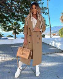 Дълго дамско палто с копчета в цвят капучино - код 3854