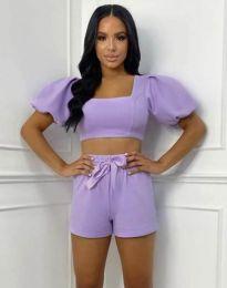 Дамски комплект къс топ и панталонки в лилаво - код 0851