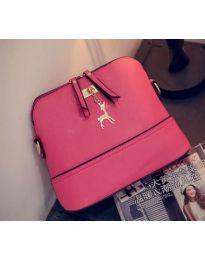 Дамска чанта в цвят циклама с цип и златна декорация - код B132