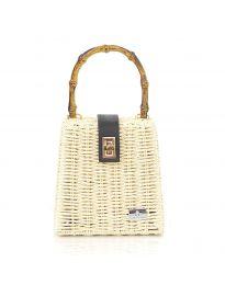 Дамска чанта в бежово от конопено плетиво и дървена дръжка - код 11551-3