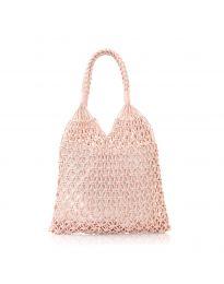 Дамска чанта в розово от плетиво тип торба - код CF009-25