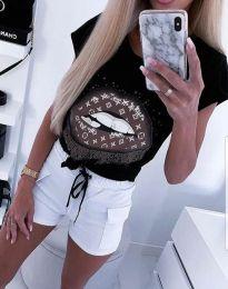 Дамска тениска в черно с апликация - код 2446
