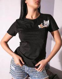 Дамска тениска в черно с анимация - 2447