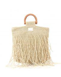 Дамска чанта в бежово от плетиво с дървени дръжки - код MS-3001