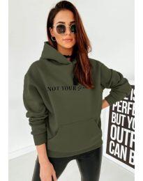 Kapucnis pulóver - kód 2569 - vaj zöld