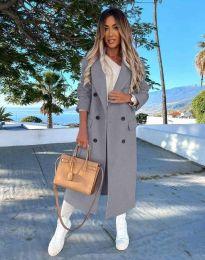 Дълго дамско палто с копчета в сиво - код 3854