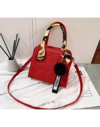 Дамска чанта в червено със стилни елементи - код B92