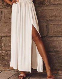 Дамска дълга пола в бяло с цепка - код 0849