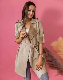 Атрактивно дълго дамско сако велур с колан в бежово - код 7893