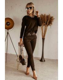 Дамски комплект блуза и спортен панталон в черно - код 9896