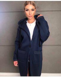 Стилно спортно-елегантно дамско палто с качулка в тъмносиньо - код 0855