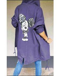 Kapucnis pulóver - kód 5017 - lila színű