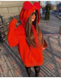 Kapucnis pulóver - kód 5161 - piros