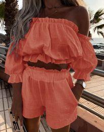Атрактивен дамски сет топ и къси панталонки в цвят корал - код 2730