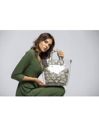 Дамска чанта в бежов змийски десен с прозрачна външна част - код DD-570