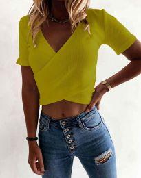 Дамска тениска къса от рипс в цвят горчица - код 1102