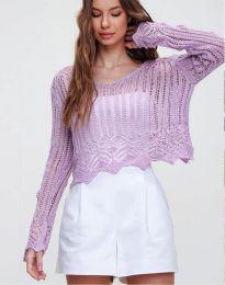 Екстравагантна къса дамска блуза от плетиво в лилаво - код 2744