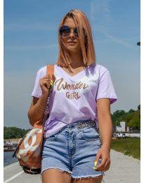 Дамска тениска в лилаво с принт - код 4261