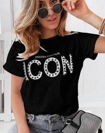 Ефектна тениска с надпис и перли в черно - 4357