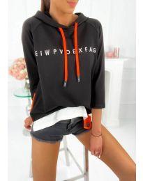 Kapucnis pulóver - kód 4149 - 1 - fekete