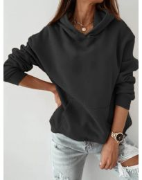 Kapucnis pulóver - kód 186 - fekete