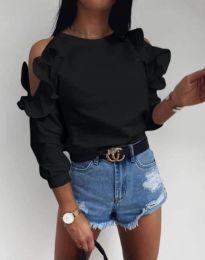 Дамска елегантна блуза с ефектни ръкави в черно - код 4333