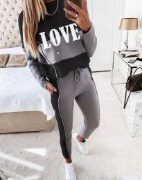 Атрактивен спортен комплект с блуза с дълъг ръкав и долнище в сиво - код 9243