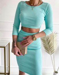 Дамски комплект къса блуза и пола рипс в цвят мента - код 45288