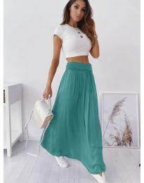 Дълга дамска пола в цвят тюркоаз - код 2667