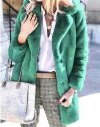 Дамско зимно пухено палто с копчета в цвят тюркоаз - код 4664