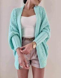 Дамска плетена жилетка в цвят мента - код 5128