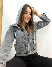 Дънково дамско яке в сиво с качулка - код 8825