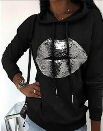 Kapucnis pulóver - kód 4034 - fekete
