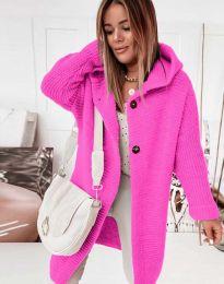 Дамска дълга свободна плетена жилетка в цвят циклама - код 2972