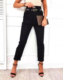 Елегантен дамски панталон с висока талия в черно - код 4655