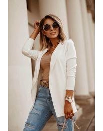 Дамско сако в бяло изчистен модел - код 2900