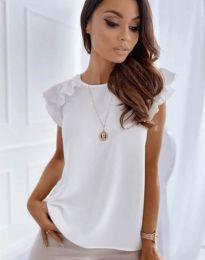 Блуза с къс ръкав с ефектни ръкави в бяло - код 3299