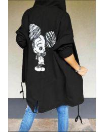 Kapucnis pulóver - kód 5017 - fekete